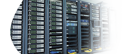 Racks of servers and networking equipment.